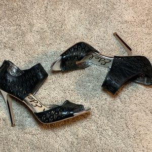 Sam Edelman Alva Black Leather Heels